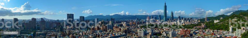 Super wide panorama of Taipei, the capital city of Taiwan stock photo
