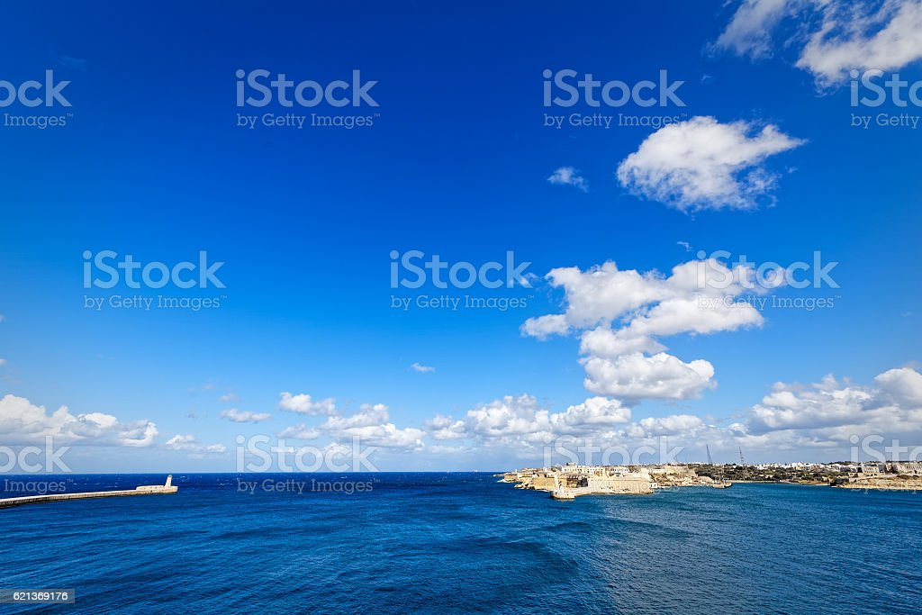 Super wide-angle of the port of Valletta, Grand Harbour stock photo