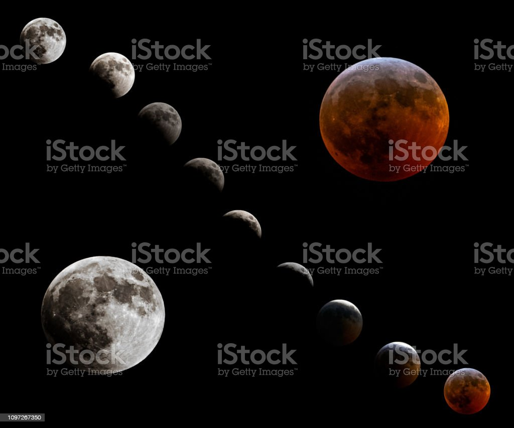 A composite of the phases of the super wolf blood moon on January...