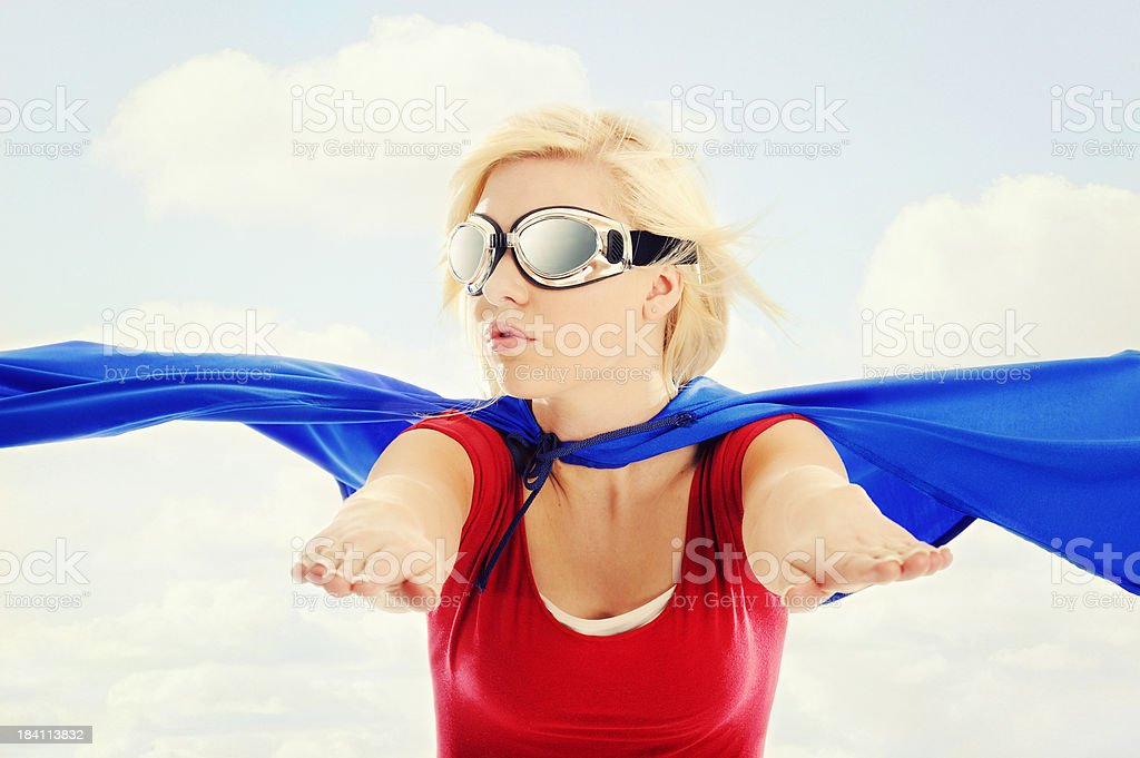 Super Woman In Flight royalty-free stock photo