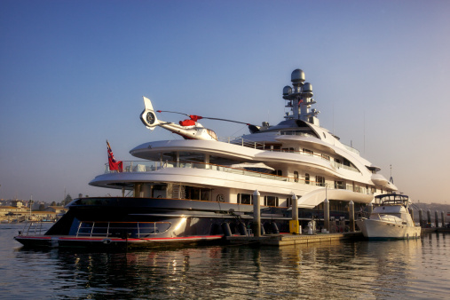 New yacht at fuel dock in Marina Del Rey, California