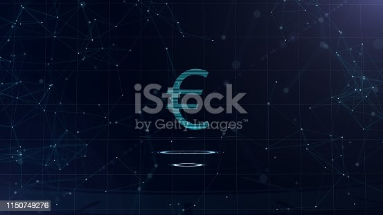 istock A superb 3d Euro sign. Space blue cyberspace backdrop with internet connections. Euro currency is on two virtual glowing circles. 1150749276