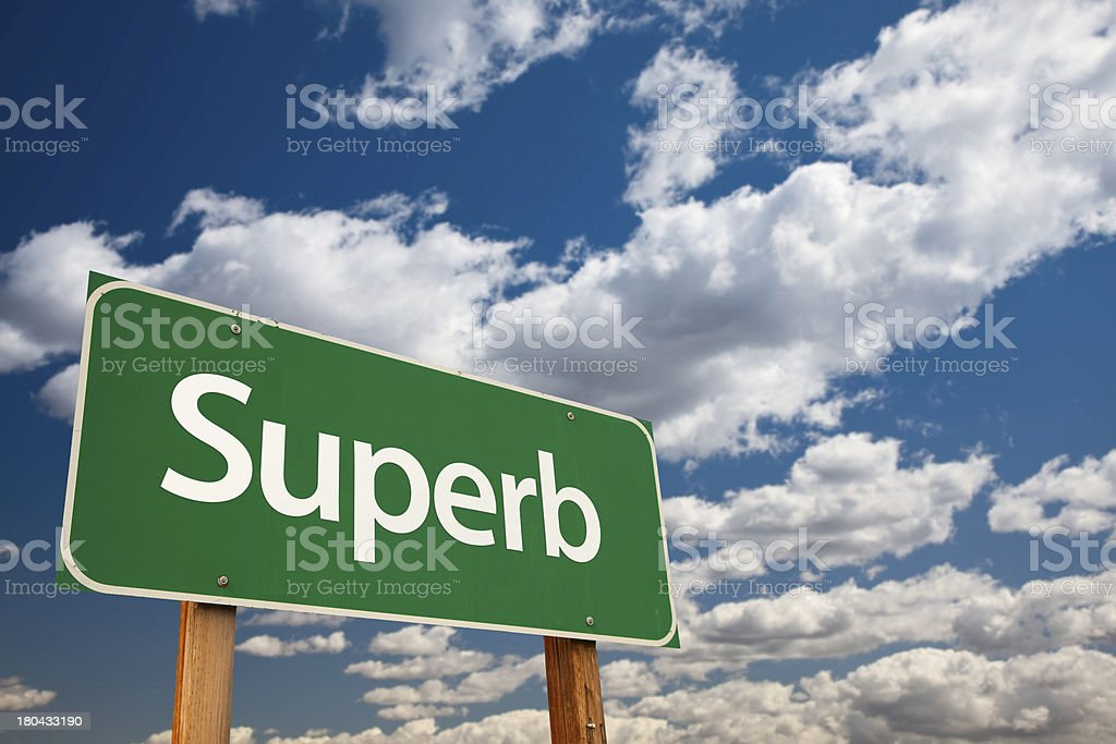Superb Green Road Sign with Sky stock photo
