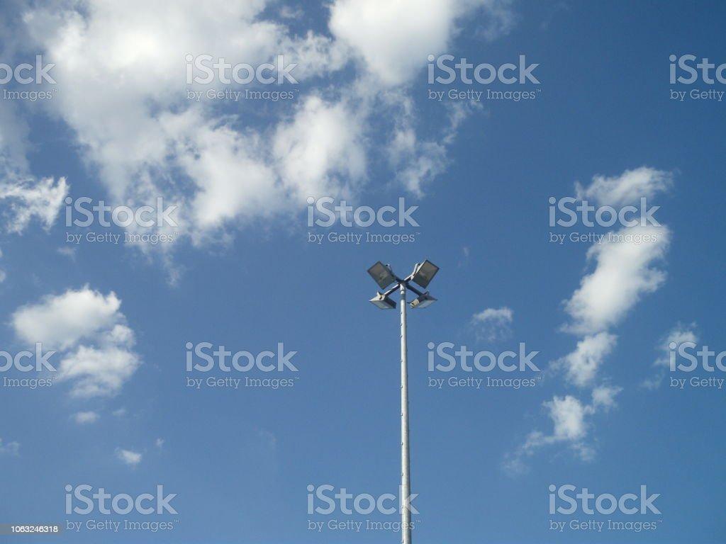 Superb summer 3D cloudscape and electric light pole