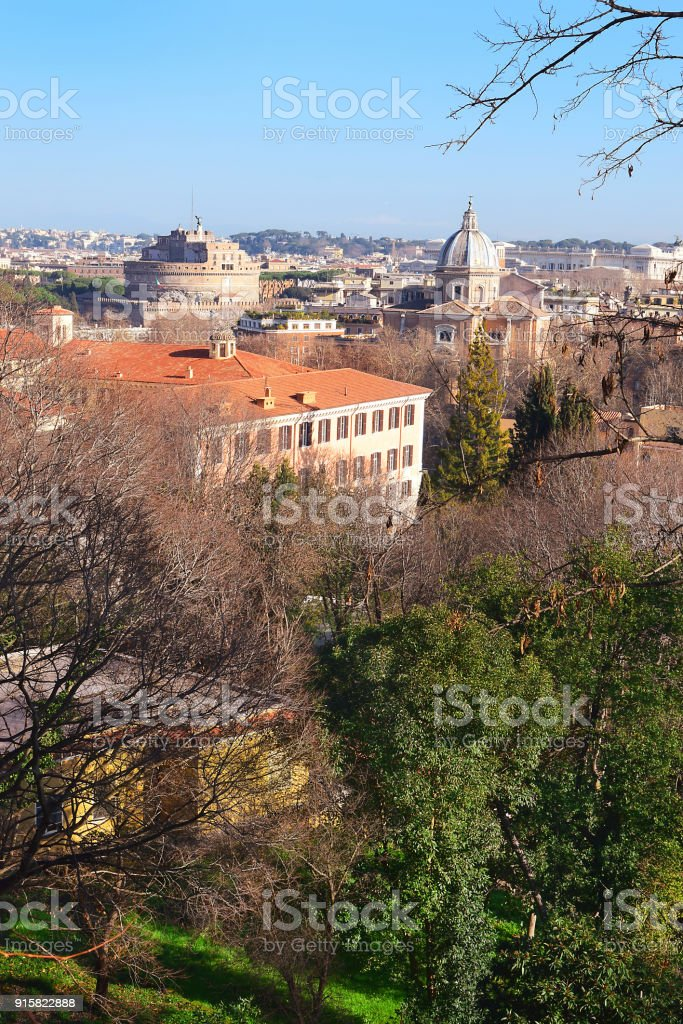 superb views of the Rome from the height of the Janiculum Hill stock photo