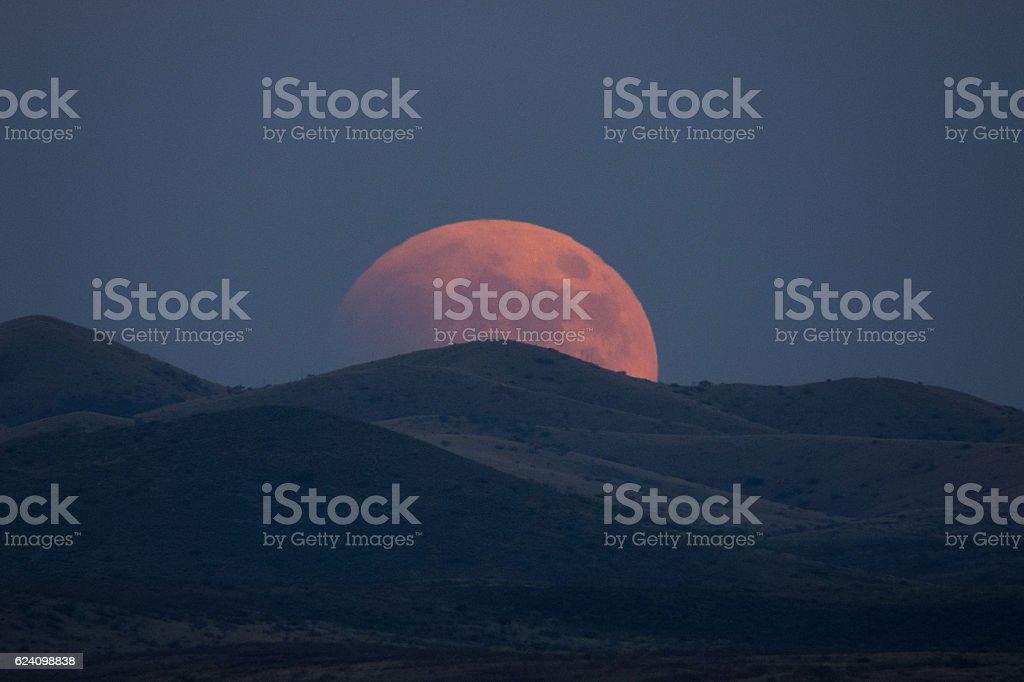 Super-blood Moon Rises stock photo