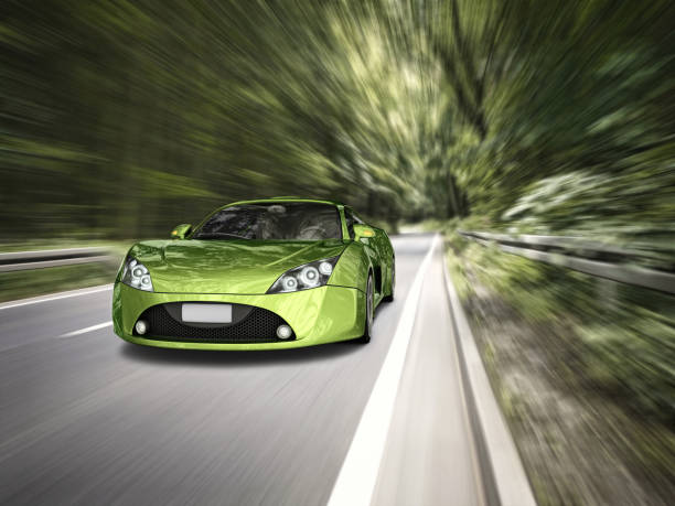 supercar in forest stock photo