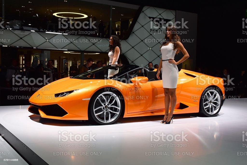 Supercar Lamborghini Huracan LP 610 4 Spyder stock photo