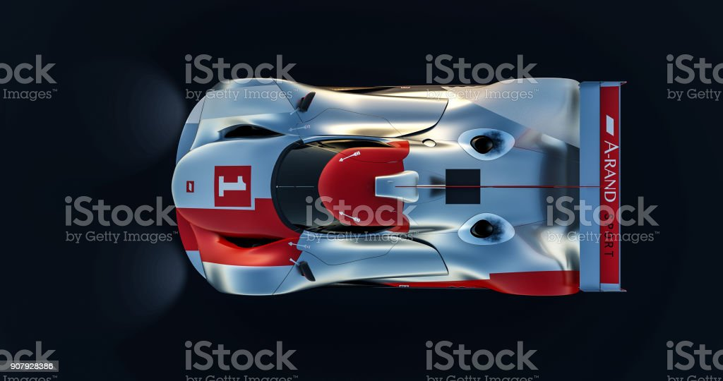 supercar, lemans prototype, photorealistic render stock photo