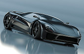 A modern black sports car. Unique generic car design.  Designed and modelled entirely by myself. Very high resolution 3D render. All markings are ficticious.