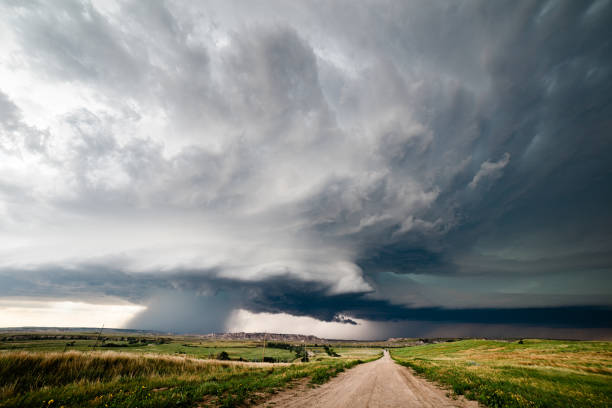 Supercell storm clouds stock photo