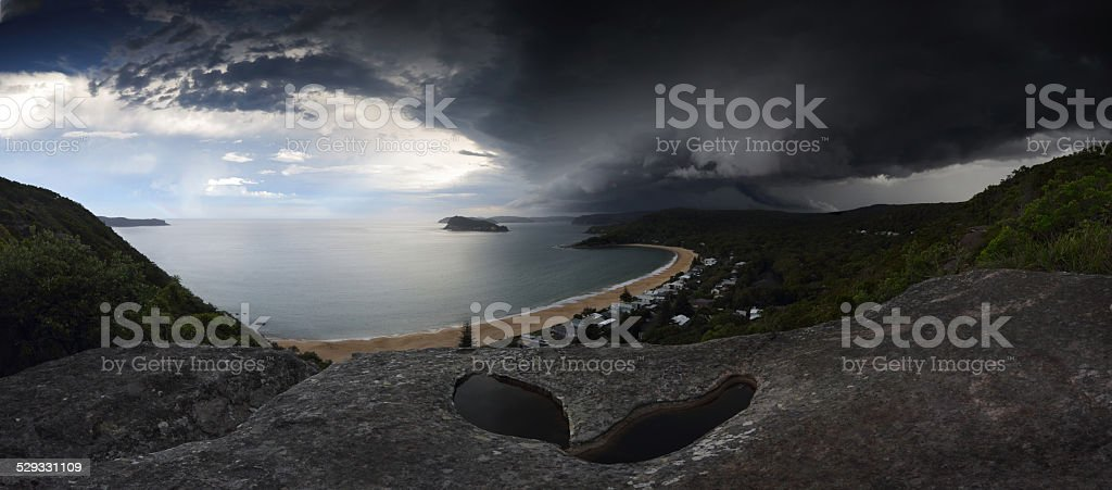 Supercell storm over Broken Bay Pearl Beach NSW Australia stock photo