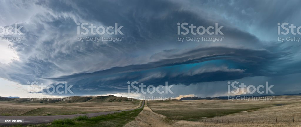 An incredible Supercell Thunderstorm on the great plains in Montana,...