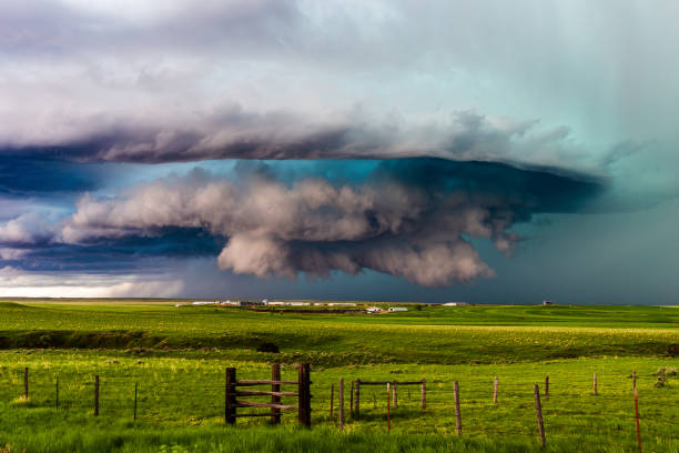 Supercell thunderstorm with dramatic clouds stock photo