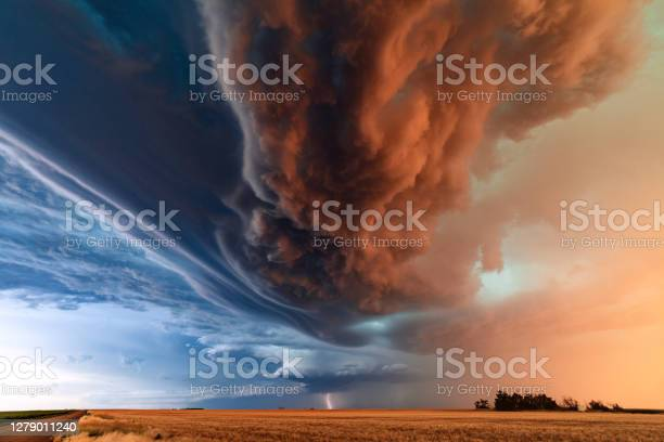 Photo of Supercell thunderstorm with dramatic storm clouds