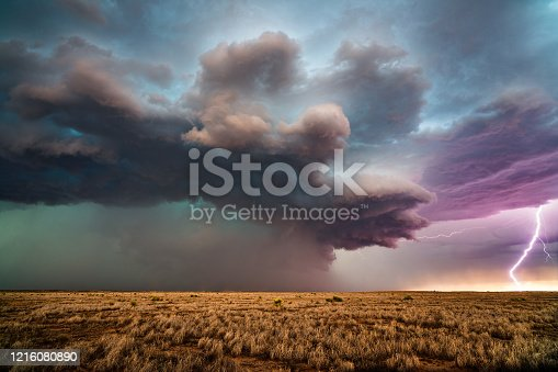 858837068 istock photo Supercell thunderstorm with lightning 1216080890
