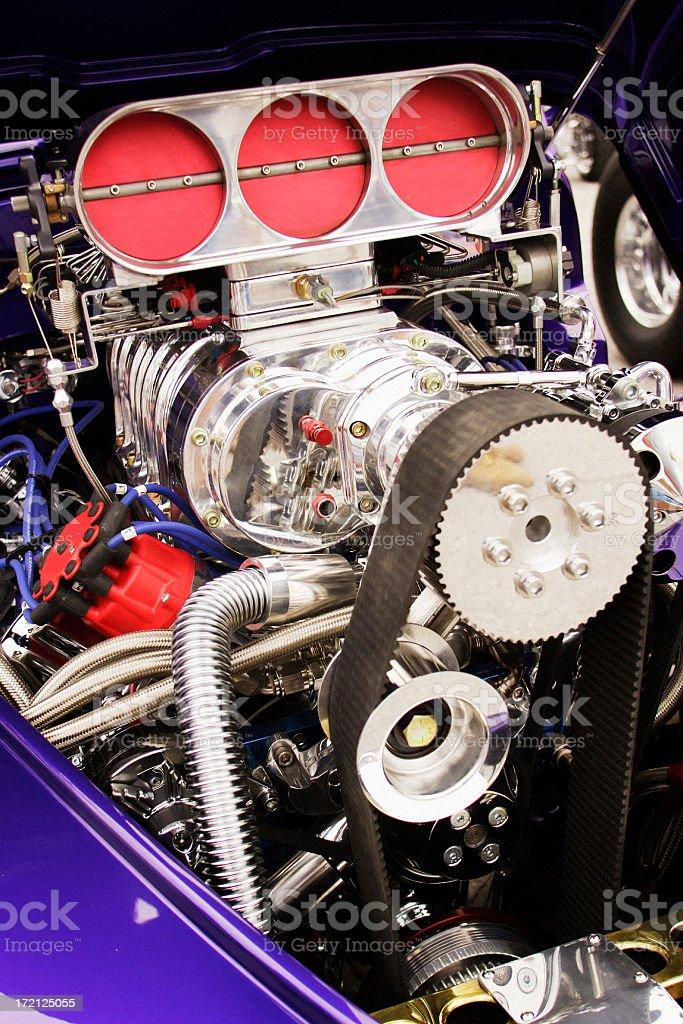 Supercharged Hot Rod Engine royalty-free stock photo