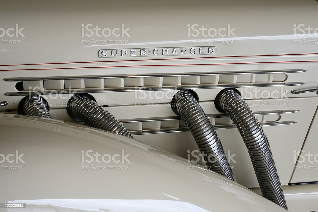 supercharged retro motor stock photo