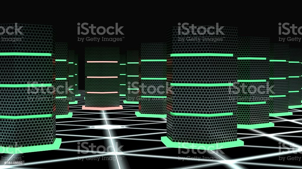 Supercomputer room with a hacked node cybersecurity concept stock photo