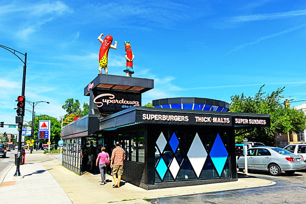 Superdawg drive-in hot dog stand, Chicago stock photo