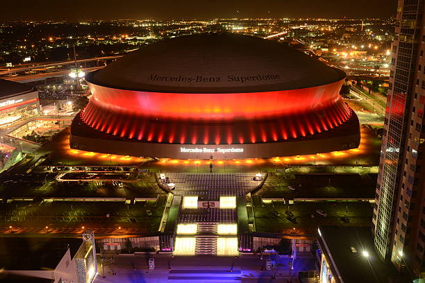 Superdome at Night stock photo