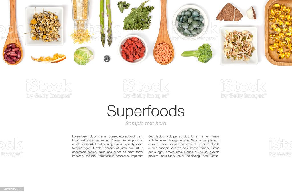 superfood on white background stock photo