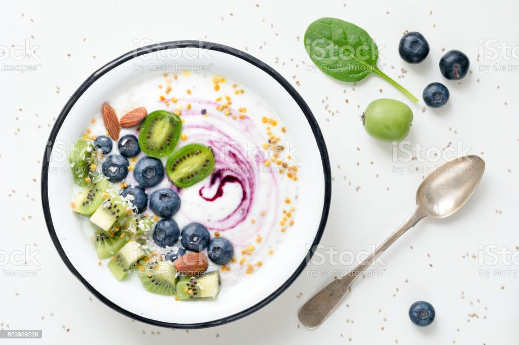 Superfood smoothie bowl stock photo