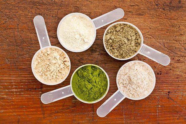 superfood supplement powder - protein stock photos and pictures