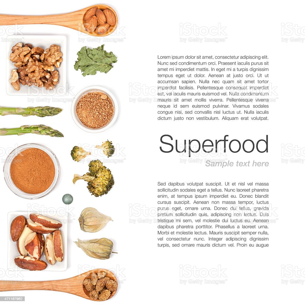 Superfood template with pictures on left side and copy space stock photo