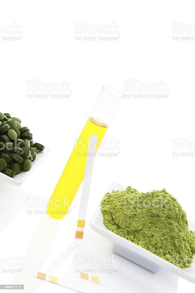 Superfood. Wheat grass, chlorella, spirulina. royalty-free stock photo