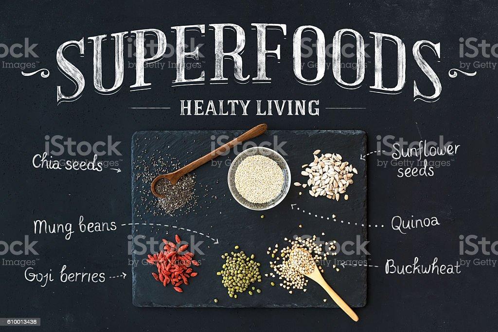 スーパーフードにブラックの背景に黒板一式:goji ベリー、チア、緑豆 ストックフォト