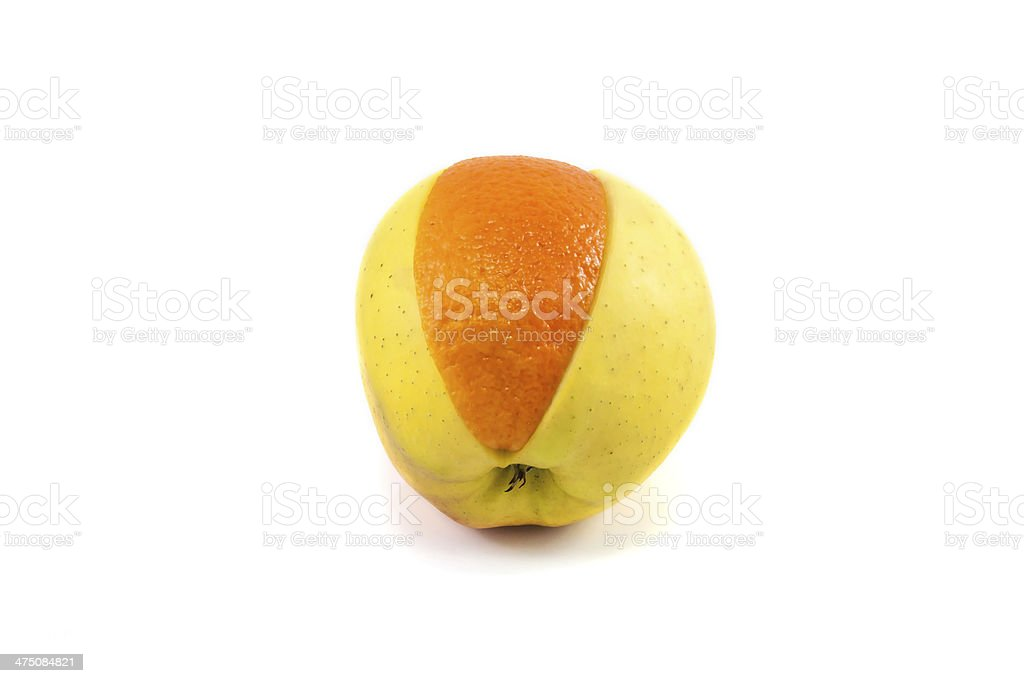 Superfruit - apple and orange stock photo