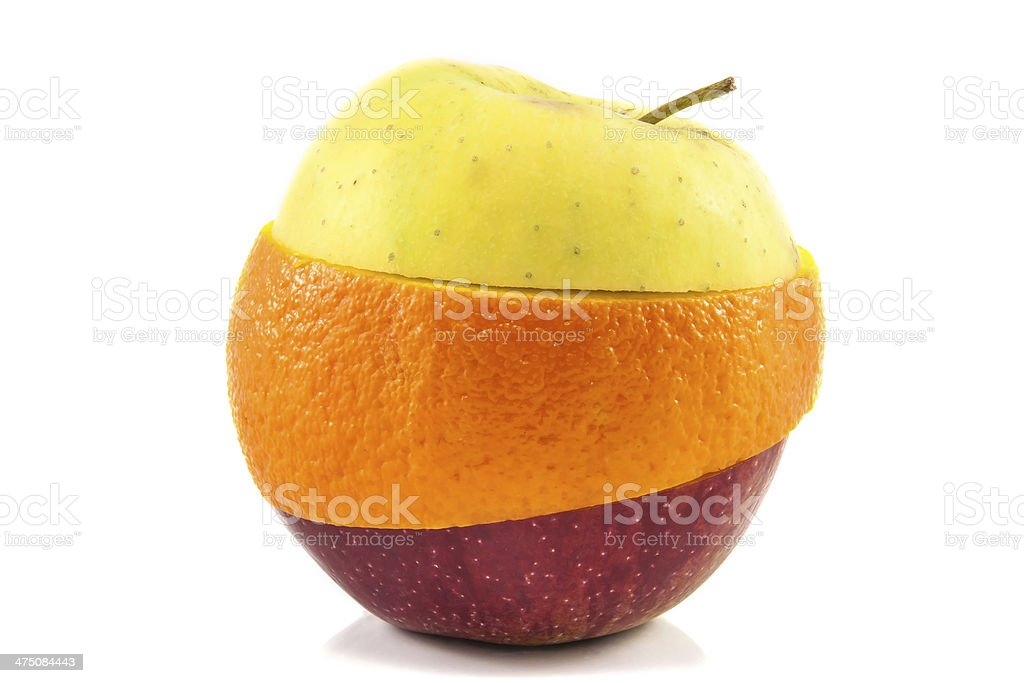 Superfruit - yellow, red apple and orange stock photo