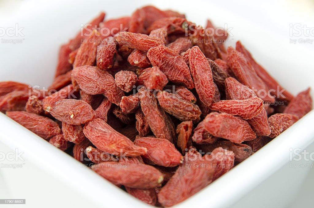 Super-fruits - Dried goji berries royalty-free stock photo