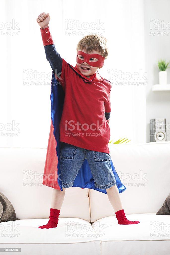 Superhero boy stock photo