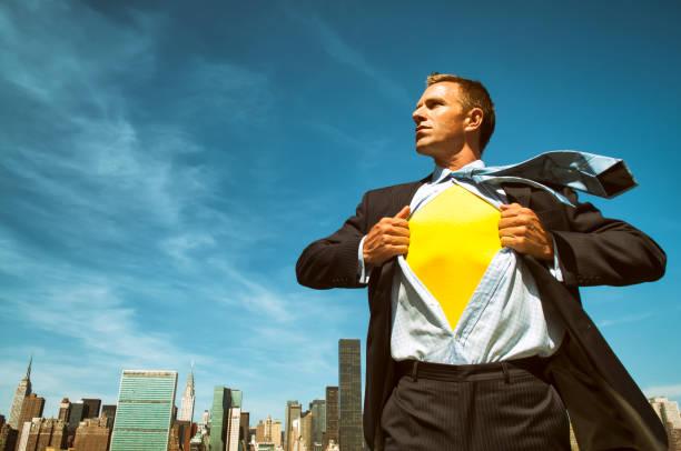 Superhero Businessman City Skyline stock photo