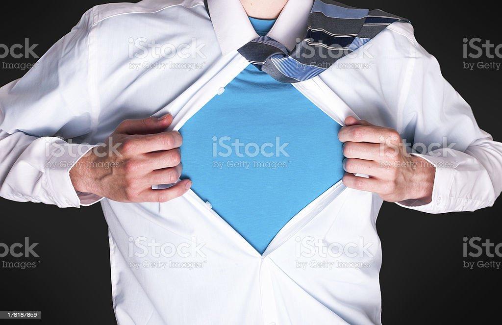 Superhero businessman or school boy royalty-free stock photo