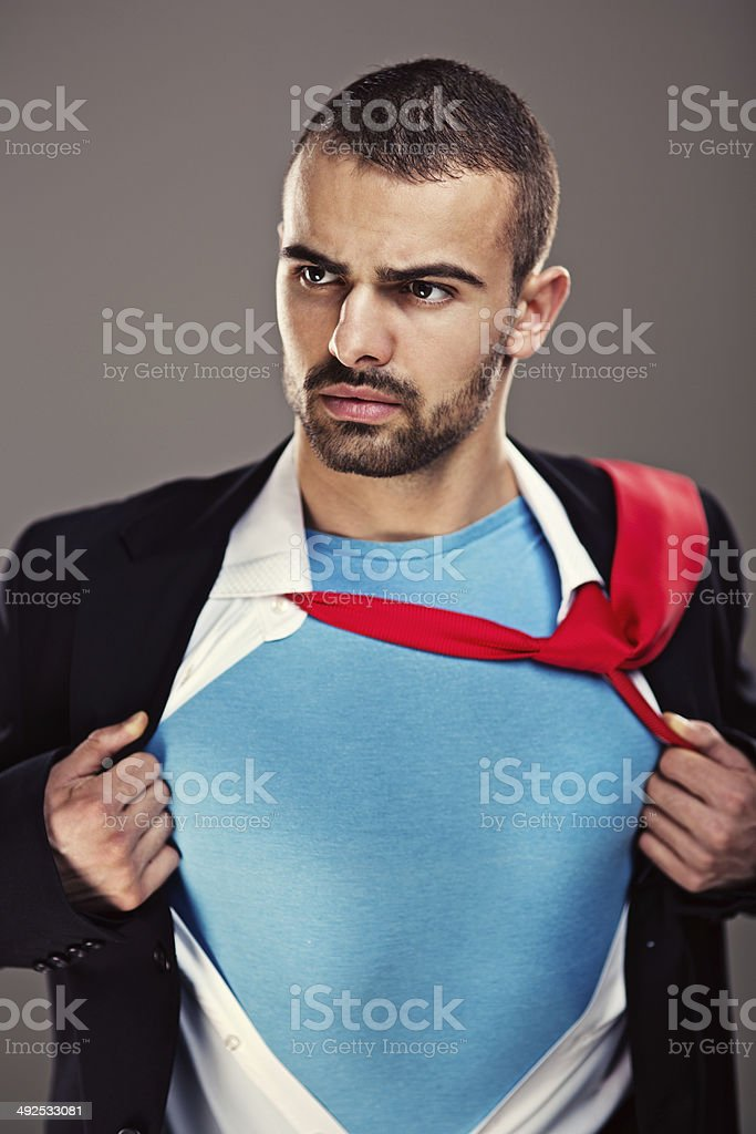 Superhero businessman stock photo