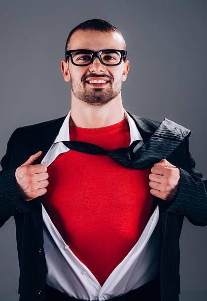 superhelden-geschäftsmann - geek t shirts stock-fotos und bilder