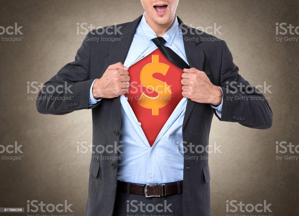 Superheld Geschäftsmann mit Dollarzeichen auf der Brust – Foto