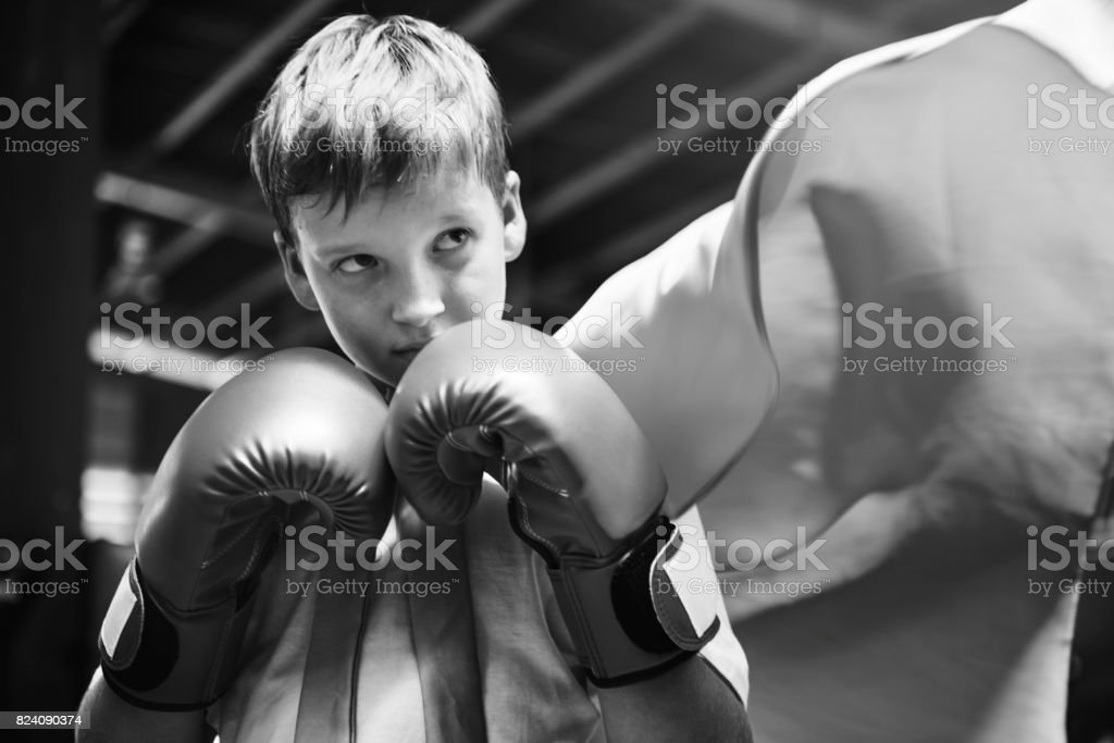 Superhero Champion Boxer Boy Strength Fighter Concept stock photo
