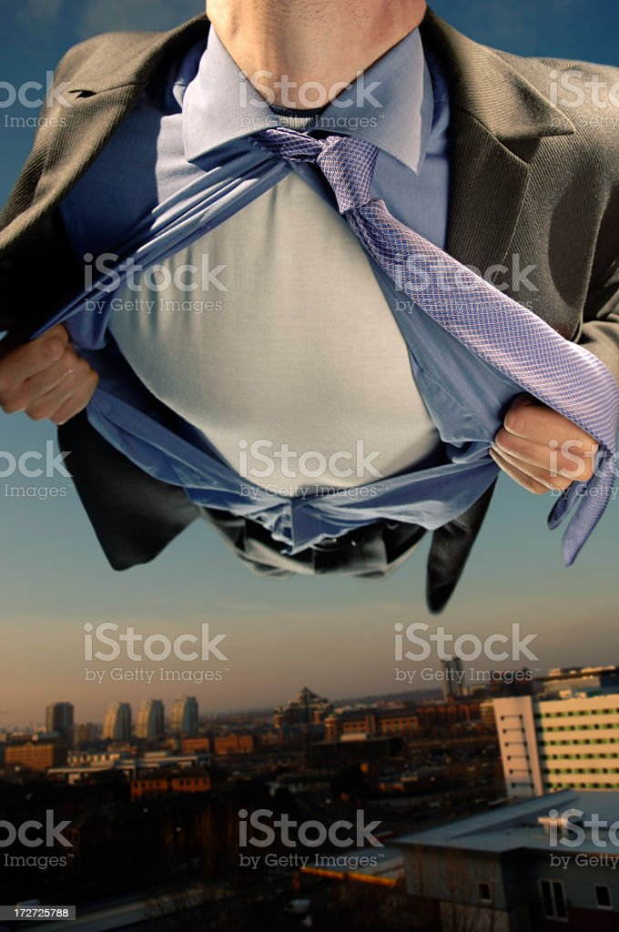 Superhero Flying Over City Buildings royalty-free stock photo
