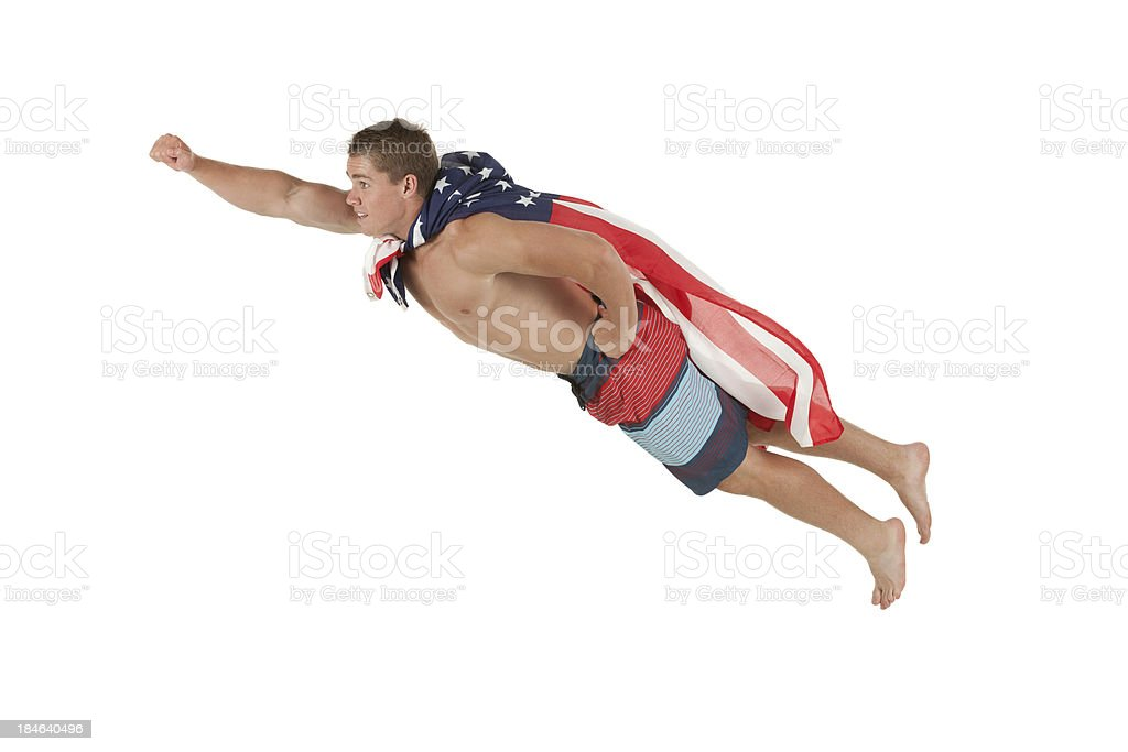 Superhero flying royalty-free stock photo