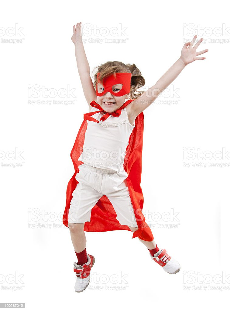 Superhero girl in a red royalty-free stock photo