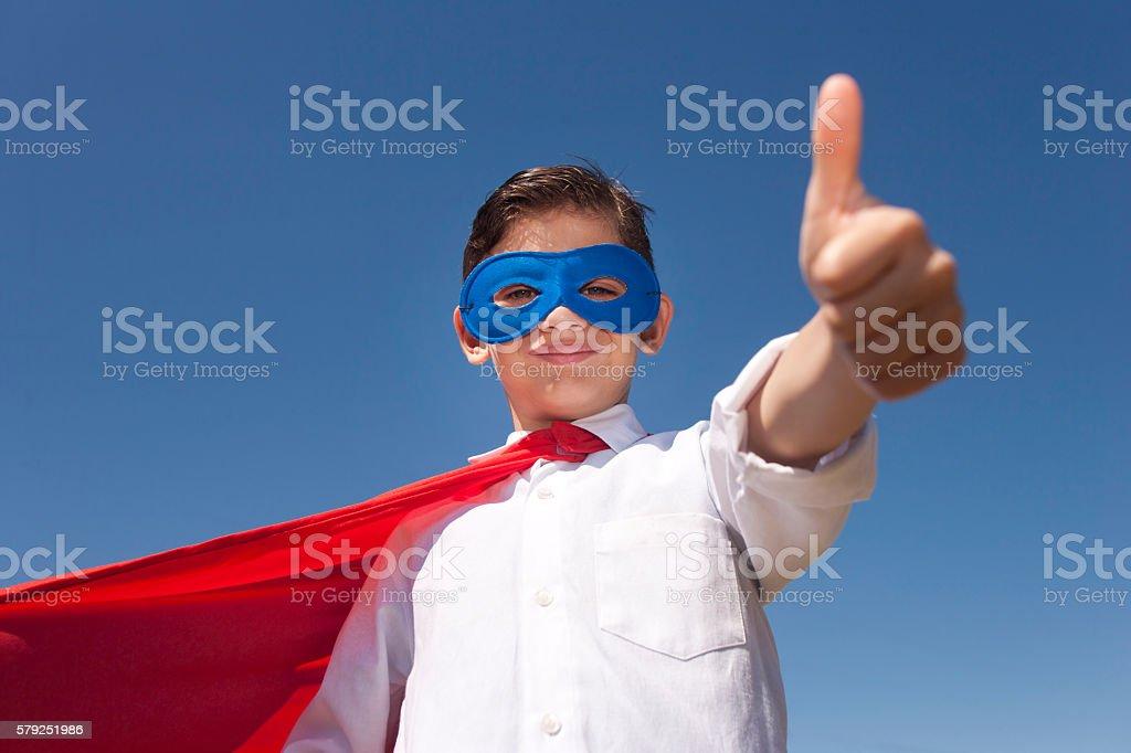 Superhero kid concept stock photo