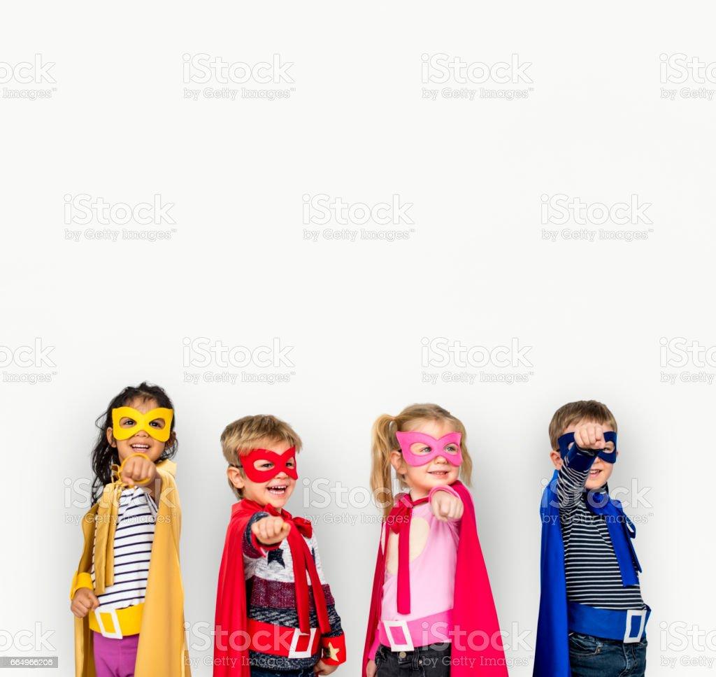 Superhero Kids Friendship Smiling Happiness Playful Togetherness stock photo