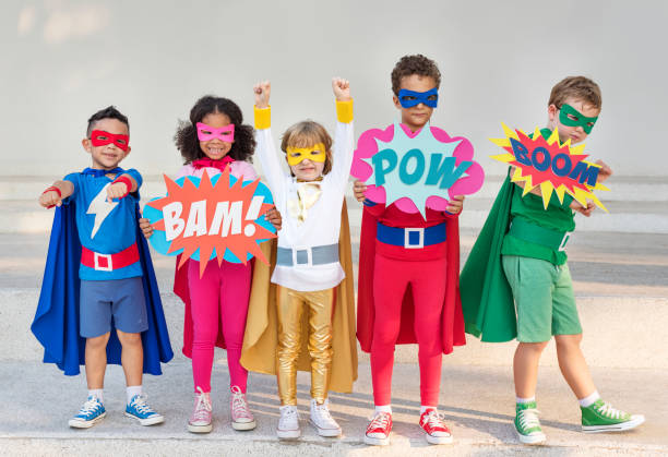 Superhero kids with superpowers Superhero kids with superpowers costume stock pictures, royalty-free photos & images