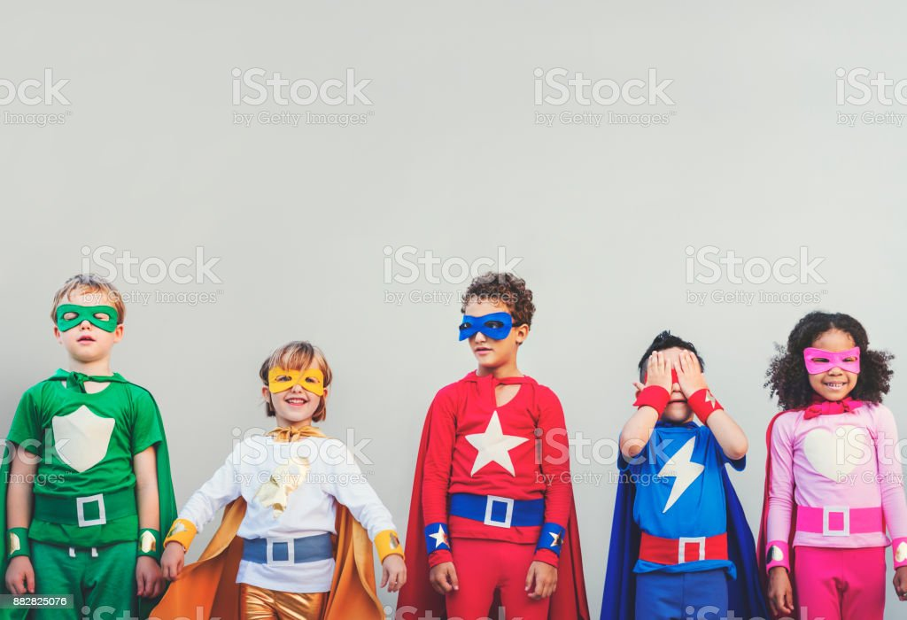 Superhero kids with superpowers royalty-free stock photo