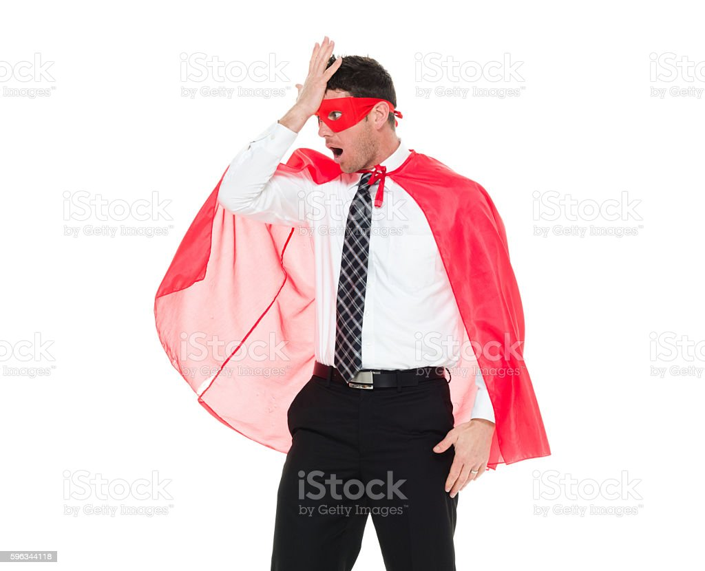 Superhero looking shocked royalty-free stock photo