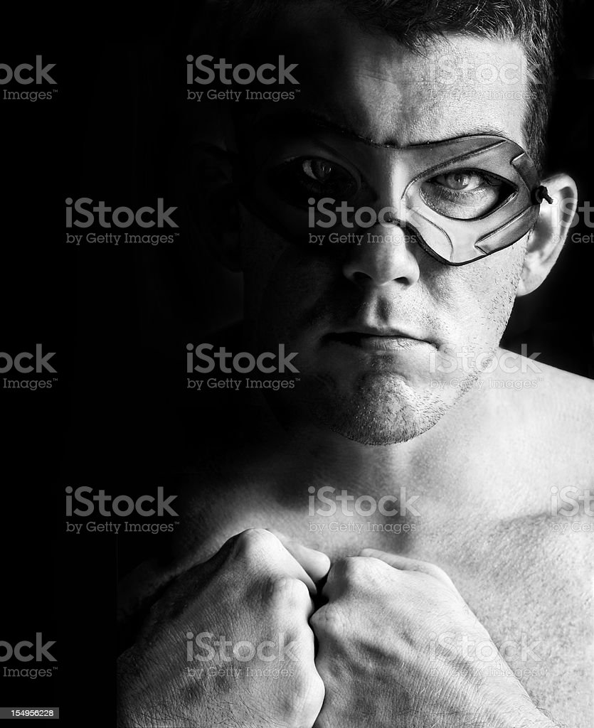Superhero - Man with Leather Mask royalty-free stock photo